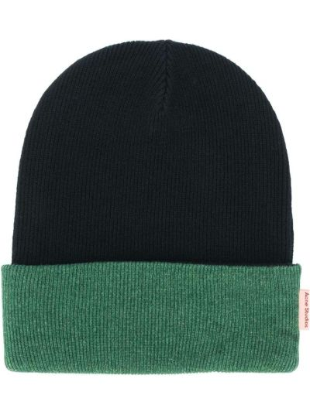 Czarny bawełna bawełna czapka dwustronny Acne Studios