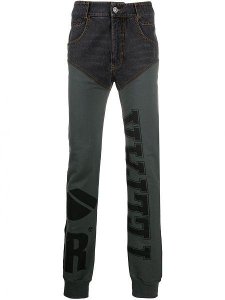 Хлопковые черные брюки с нашивками на молнии Telfar