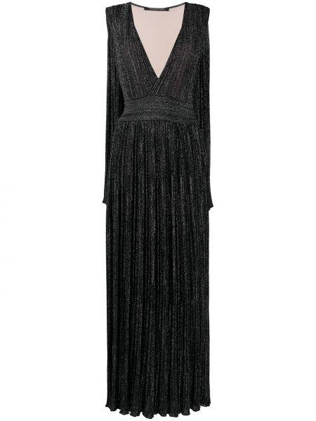 Prążkowana czarna sukienka z wiskozy Antonino Valenti