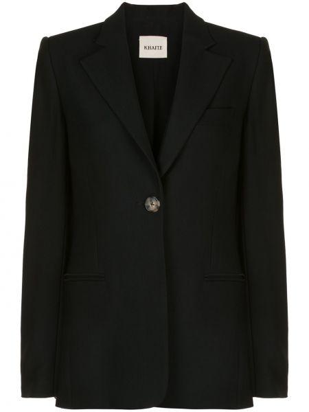 Шелковый черный пиджак с карманами Khaite