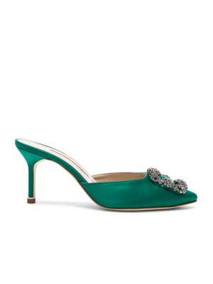 Зеленые мюли на каблуке из натуральной кожи Manolo Blahnik