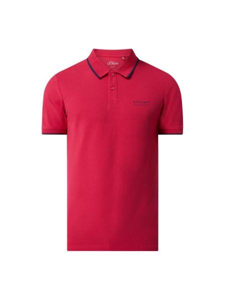 Różowy t-shirt z printem bawełniany S.oliver Red Label