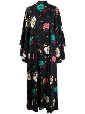 Черное платье макси с длинными рукавами в цветочный принт La Doublej