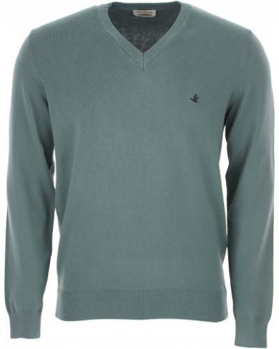 Prążkowany długi sweter bawełniany z długimi rękawami Brooksfield