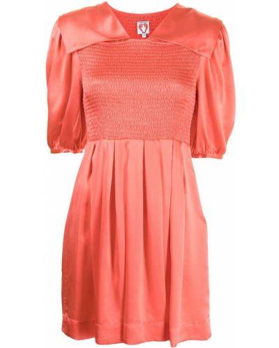 Pomarańczowa sukienka mini z jedwabiu z dekoltem w serek Shrimps