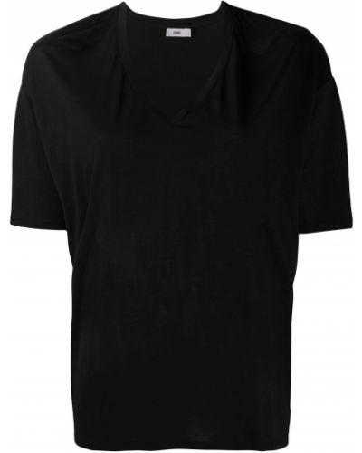 Хлопковый черный топ с V-образным вырезом с короткими рукавами Closed