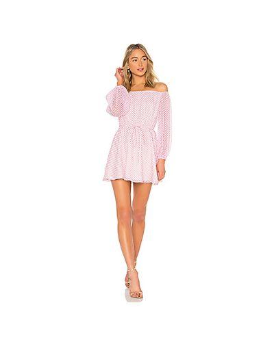 Платье с поясом розовое с прозрачными рукавами Lovers + Friends