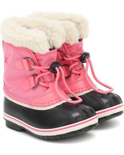 Ze sznurkiem do ściągania różowy nylon buty Sorel Kids