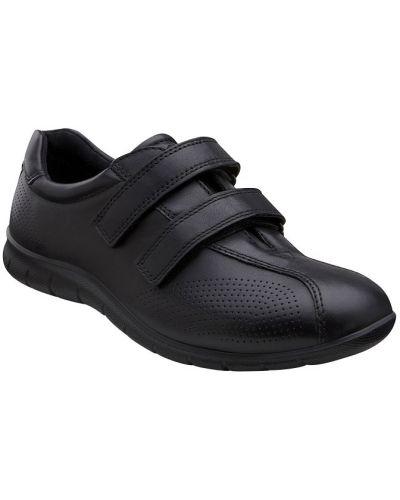 Кожаные кроссовки на липучках черные Ecco