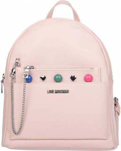 Рюкзак на молнии розовый Love Moschino