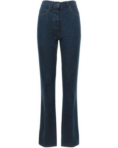 Wyposażone niebieski jeansy z kieszeniami z łatami Lemaire