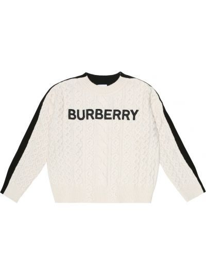 Biały z kaszmiru sweter z haftem Burberry Kids
