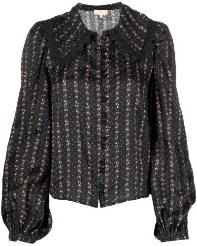 Czarna koszula z haftem z długimi rękawami Bytimo