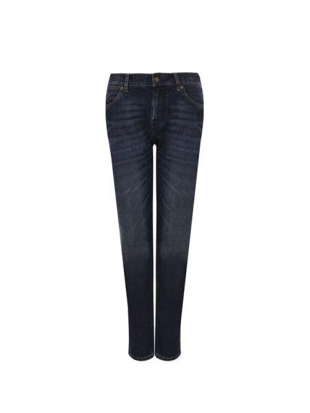 Прямые джинсы синие с эффектом потертости Tom Ford