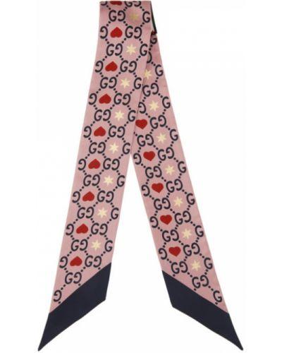 Jedwab różowy szalik Gucci
