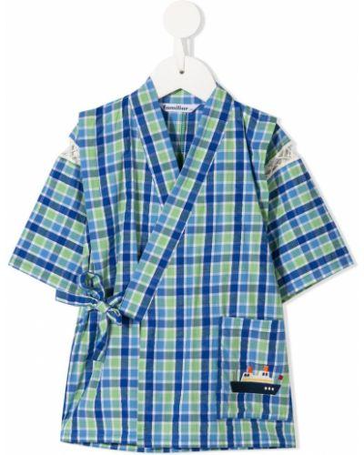 Синее с рукавами хлопковое кимоно с запахом Familiar