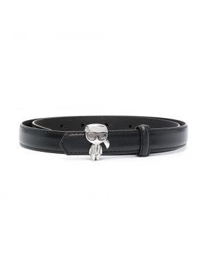 Черный кожаный ремень с поясом Karl Lagerfeld