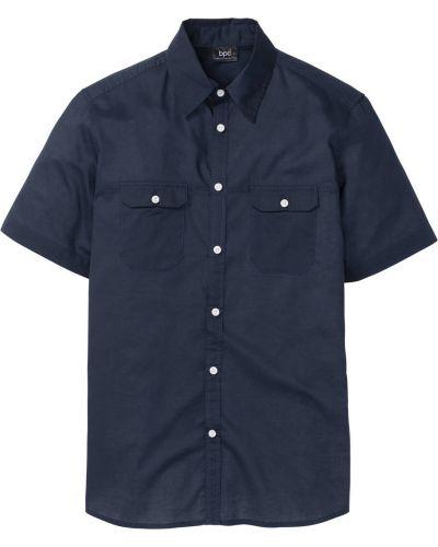 Рубашка с короткими рукавами темно-синий синий Bonprix