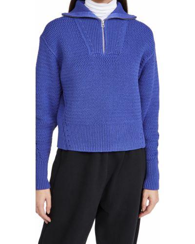 Prążkowany niebieski długi sweter bawełniany Rag & Bone