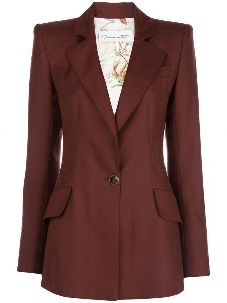 Шерстяной приталенный однобортный пиджак с карманами Oscar De La Renta