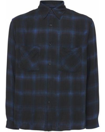 Flanelowa niebieska koszula z printem Other