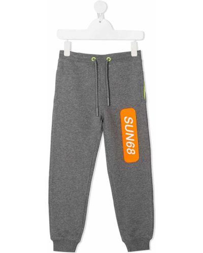 Серые брюки с карманами с манжетами Sun 68