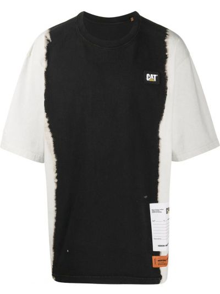 Bawełna prosto czarny koszula krótkie z krótkim rękawem z haftem Heron Preston