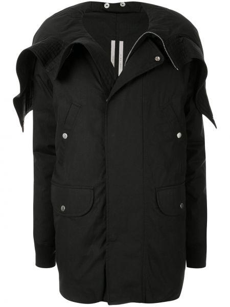 Черный длинное пальто с капюшоном на кнопках Rick Owens