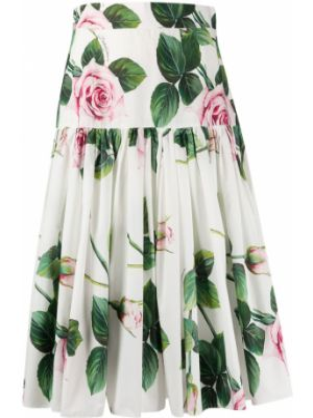 Spódnica plisowana z nadrukiem z wysokim stanem Dolce And Gabbana