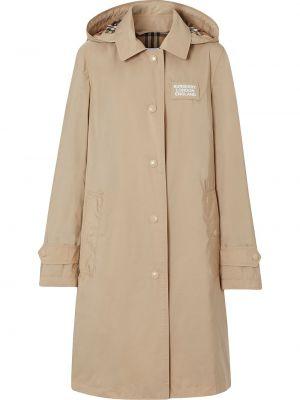 Пальто с капюшоном на кнопках с воротником айвори с карманами Burberry