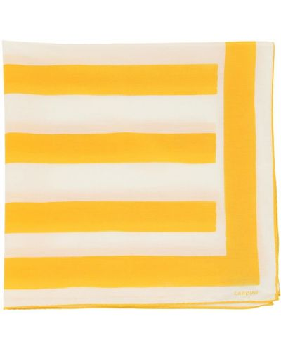 Żółty szalik w paski z jedwabiu Lardini