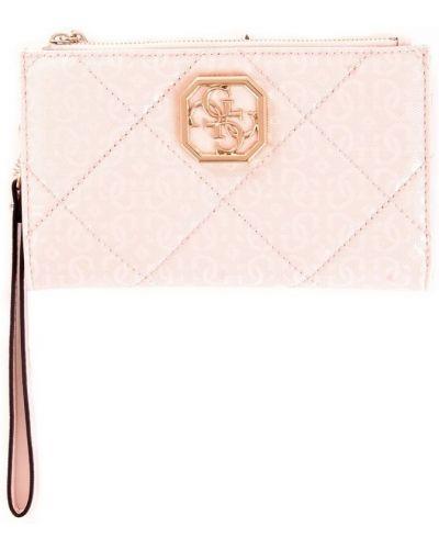 Złoty portfel pikowany z printem Guess