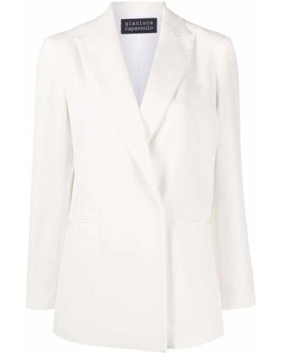 Однобортный приталенный белый классический пиджак Gianluca Capannolo