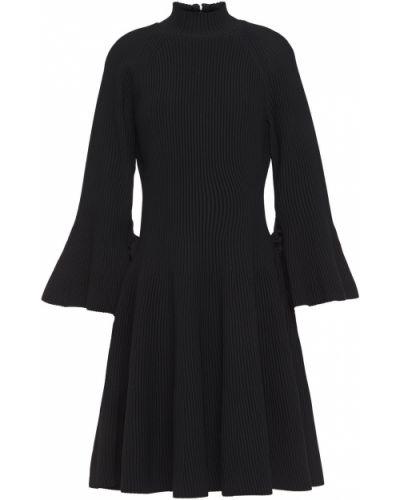 Расклешенное кружевное черное платье мини Carolina Herrera