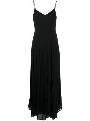 Шелковое кружевное черное платье макси Valentino