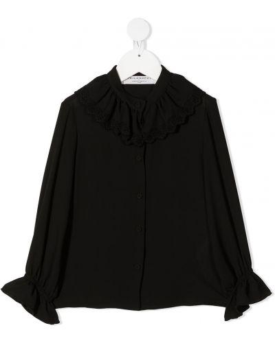 С рукавами черная кружевная блузка Philosophy Di Lorenzo Serafini Kids