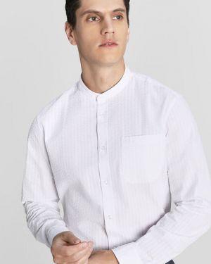 С рукавами хлопковая белая рубашка с воротником Ostin