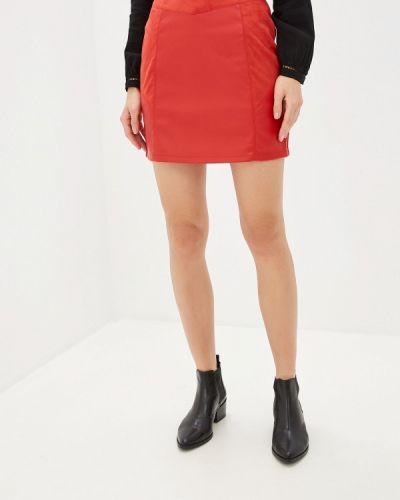 Кожаная юбка красный Naf Naf