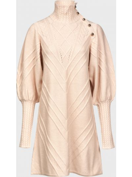 Бежевое платье на пуговицах из вискозы Silvian Heach