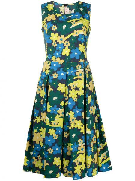 Синее платье в цветочный принт с вырезом Marni