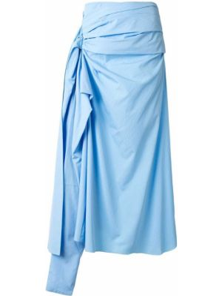 Niebieska spódnica z wysokim stanem asymetryczna Marni