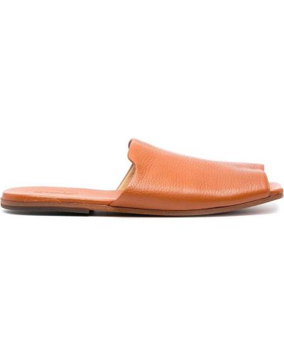Brązowe sandały skorzane peep toe Marsell