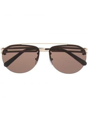 Коричневые прямые солнцезащитные очки металлические Bvlgari