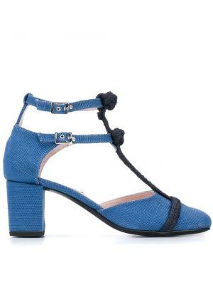 Синие туфли-лодочки с квадратным носком с пряжкой на каблуке Leandra Medine