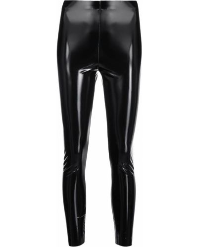 Черные кожаные леггинсы эластичные Pinko