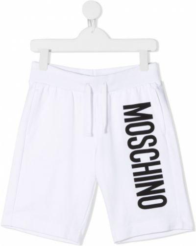Хлопковые белые спортивные шорты на шнурках Moschino Kids