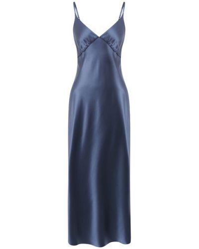Шелковое синее платье на бретелях Lesyanebo