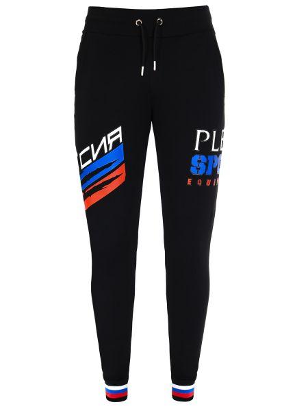 Черные спортивные брюки с карманами с манжетами с надписью Plein Sport