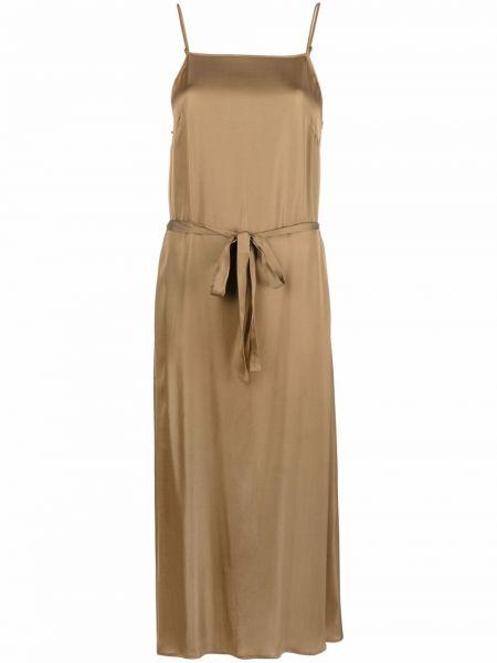 Коричневое платье миди из верблюжьей шерсти без рукавов Diega