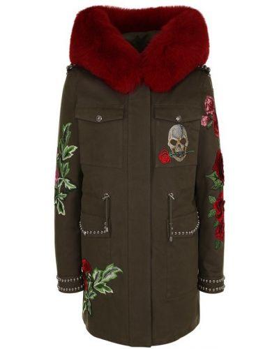 Куртка с капюшоном с вышивкой с мехом Philipp Plein